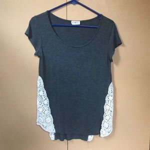 T-Shirt with Laced Floral Sides